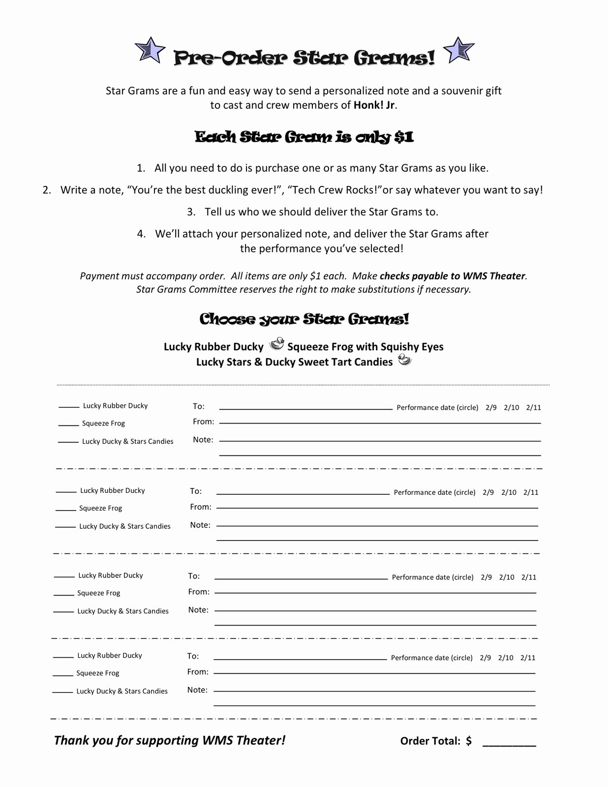 Pre order form Template Beautiful Wyoming Middle School theater Stargrams Pre order form