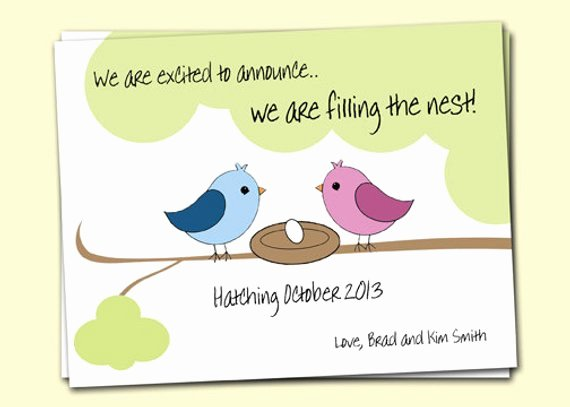 Pregnancy Announcement Template Free Awesome Pregnancy Announcement Birds In Nest 4 Cards and 4