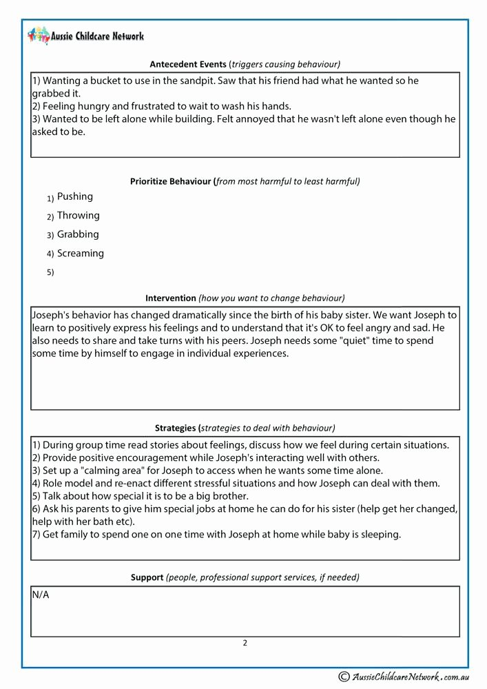 Preschool Behavior Plan Template Awesome Behavior Plan Examples for Elementary Students Chart