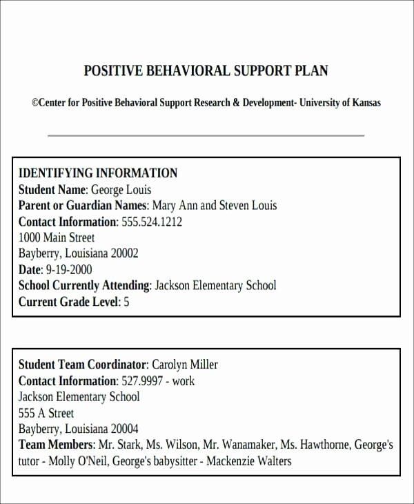 Preschool Behavior Plan Template Best Of Behavior Plan Examples for Elementary Students Chart