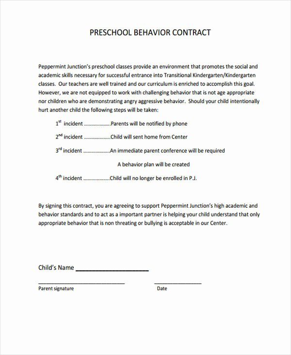 Preschool Behavior Plan Template Fresh 6 Behavior Contract Templates Free Word Pdf format