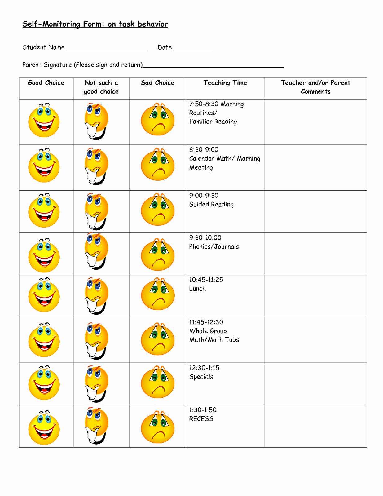 Preschool Behavior Plan Template Inspirational Behavior Charts Printable for Kids
