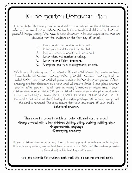 Preschool Behavior Plan Template Inspirational School Wide Discipline Plan Classroom