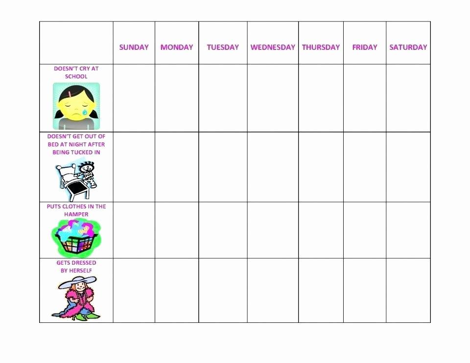 Preschool Behavior Plan Template New Behavior Modification Charts Daily Chart Task Classroom