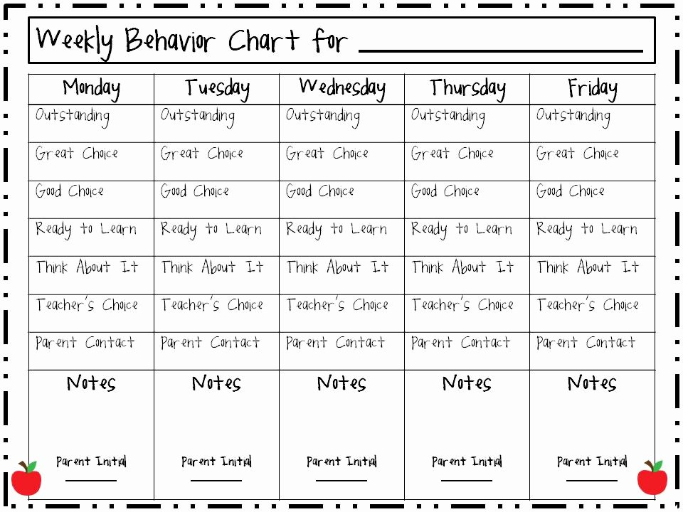 Preschool Behavior Plan Template New Weekly Behavior Charts