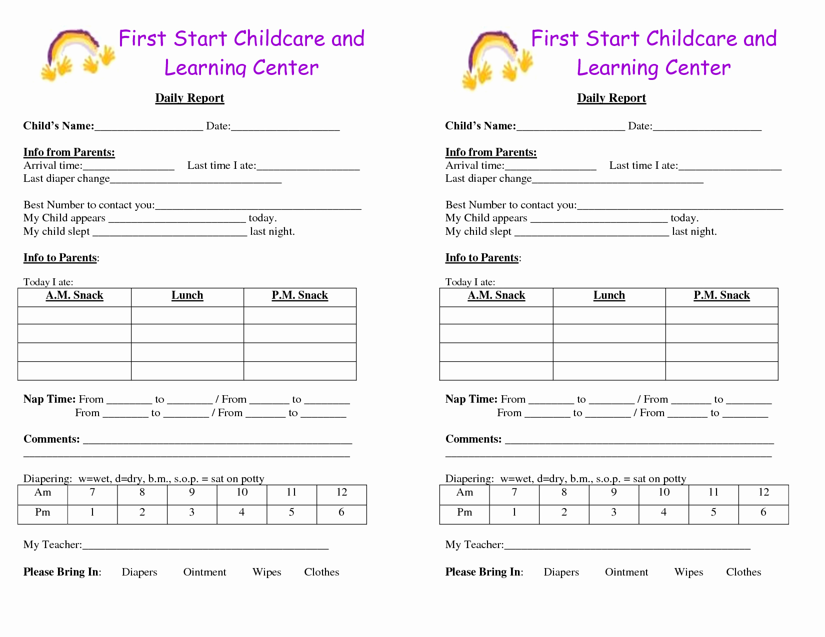 Preschool Daily Report Template Beautiful Baby Log forms Google Search Daycare forms