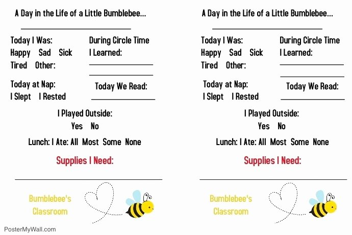 Preschool Daily Report Template Elegant Daycare toddler Daily Report Template