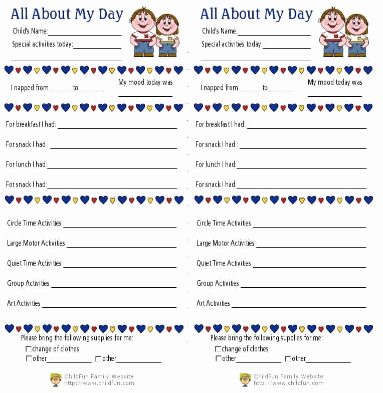 Preschool Daily Report Template Fresh Child Care & Daily Reports Printable forms