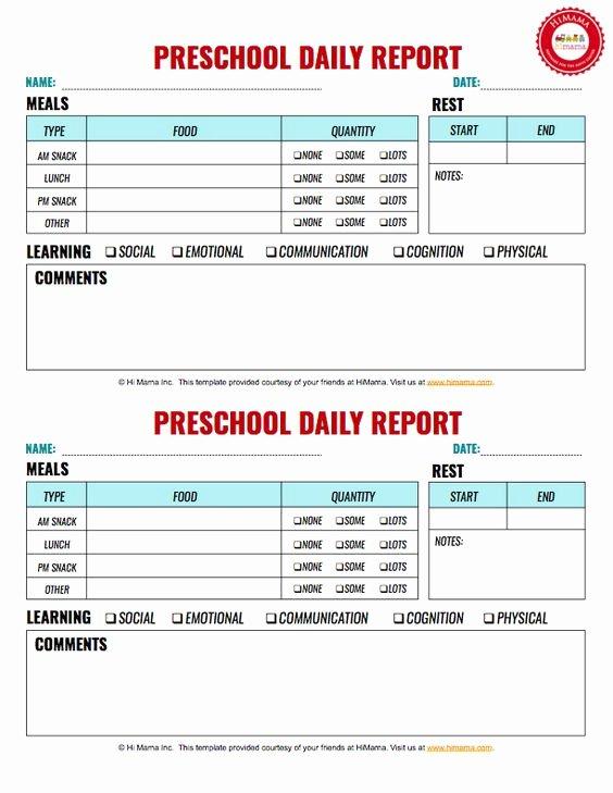 Preschool Daily Report Template Inspirational Free Preschool Daily Report 2
