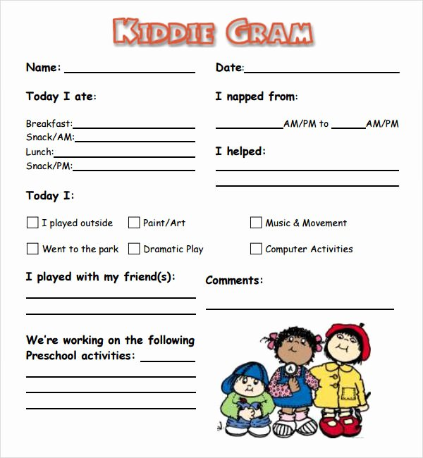 Preschool Daily Report Template Lovely 1000 Images About Ps Learning Daily Munication Logs
