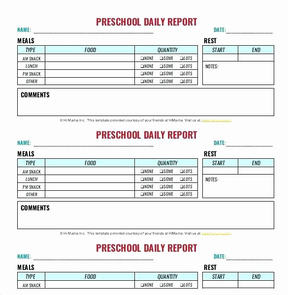 Preschool Daily Report Template Lovely Best Infant Daily Report Ideas Daycare Sheets Near Me