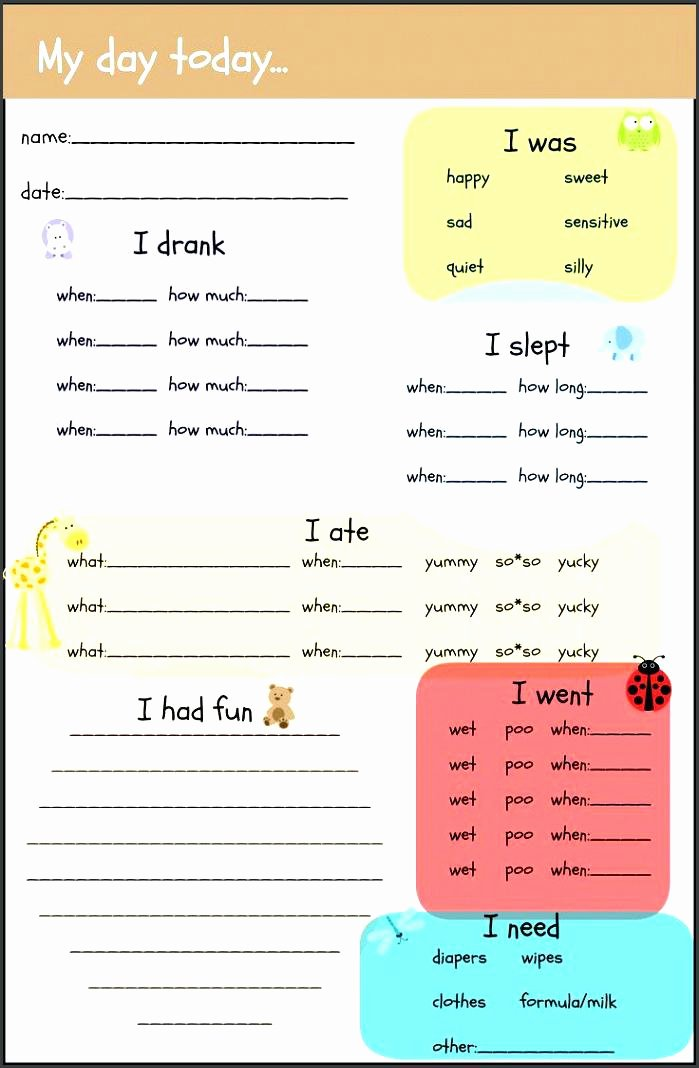 Preschool Daily Report Template Luxury 12 Infant Daily Sheets