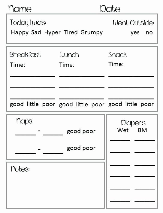 Preschool Daily Report Template Luxury Best Infant Daily Report Ideas Daycare Sheets Near Me