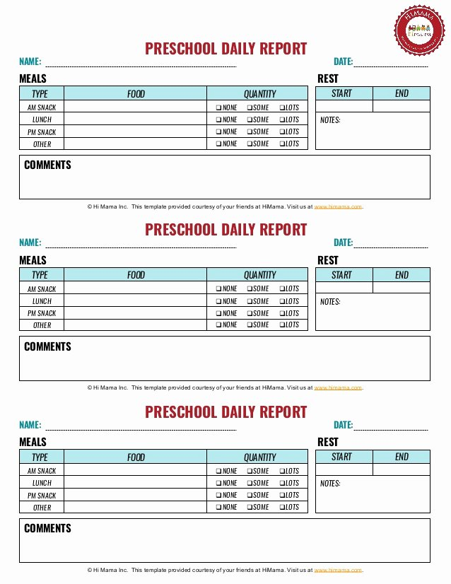 Preschool Daily Report Template Unique Preschool Daily Sheet