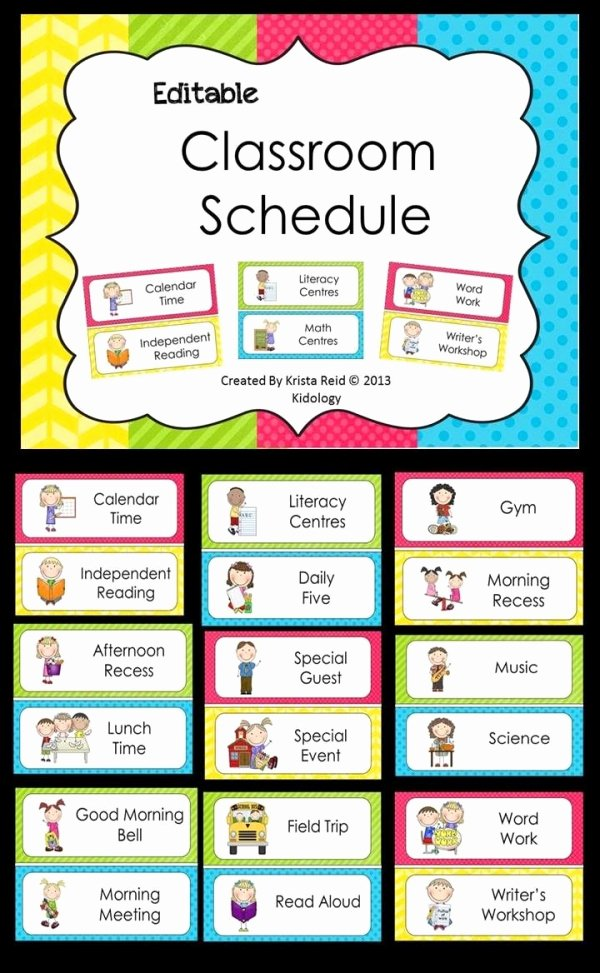 Preschool Daily Schedule Template Awesome Editable Classroom Schedule
