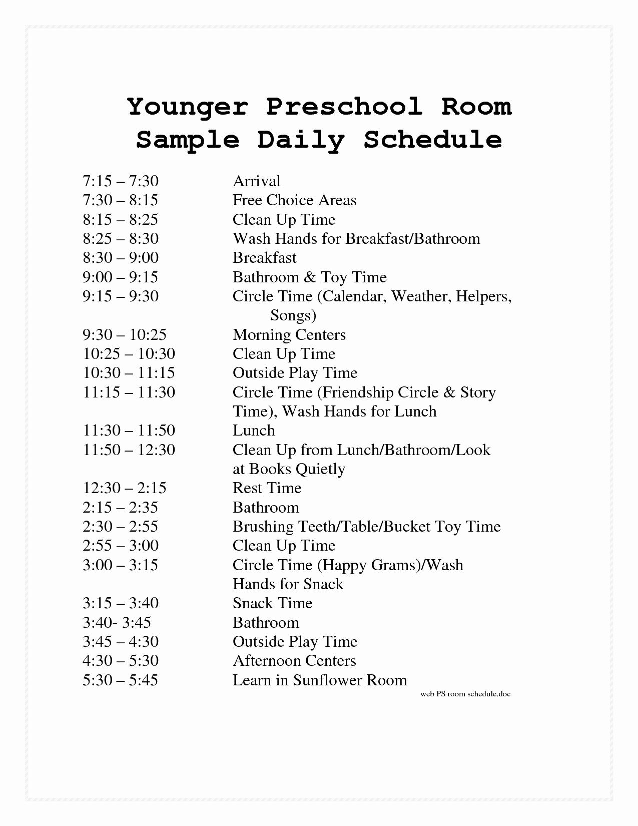 Preschool Daily Schedule Template Beautiful Preschool Daily Schedule Template