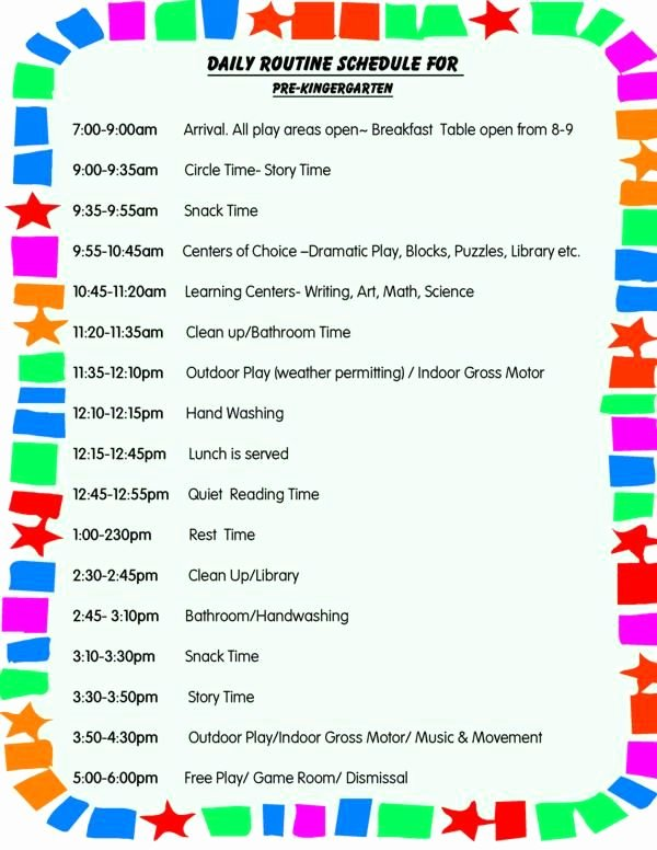 Preschool Daily Schedule Template Best Of Daily Schedule for toddlers Daily Schedule for Preschool