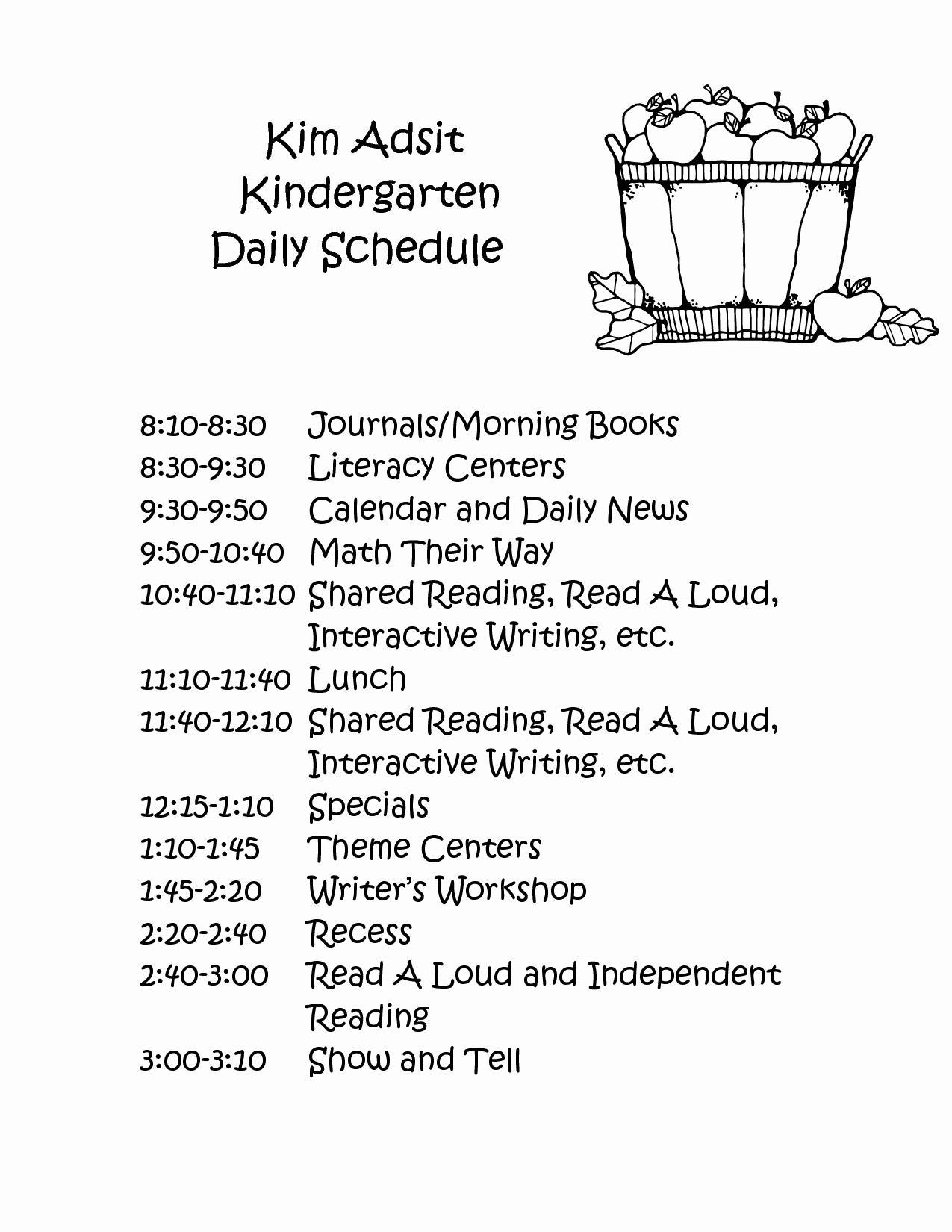 Preschool Daily Schedule Template Best Of Full Day Kindergarten Class Schedule