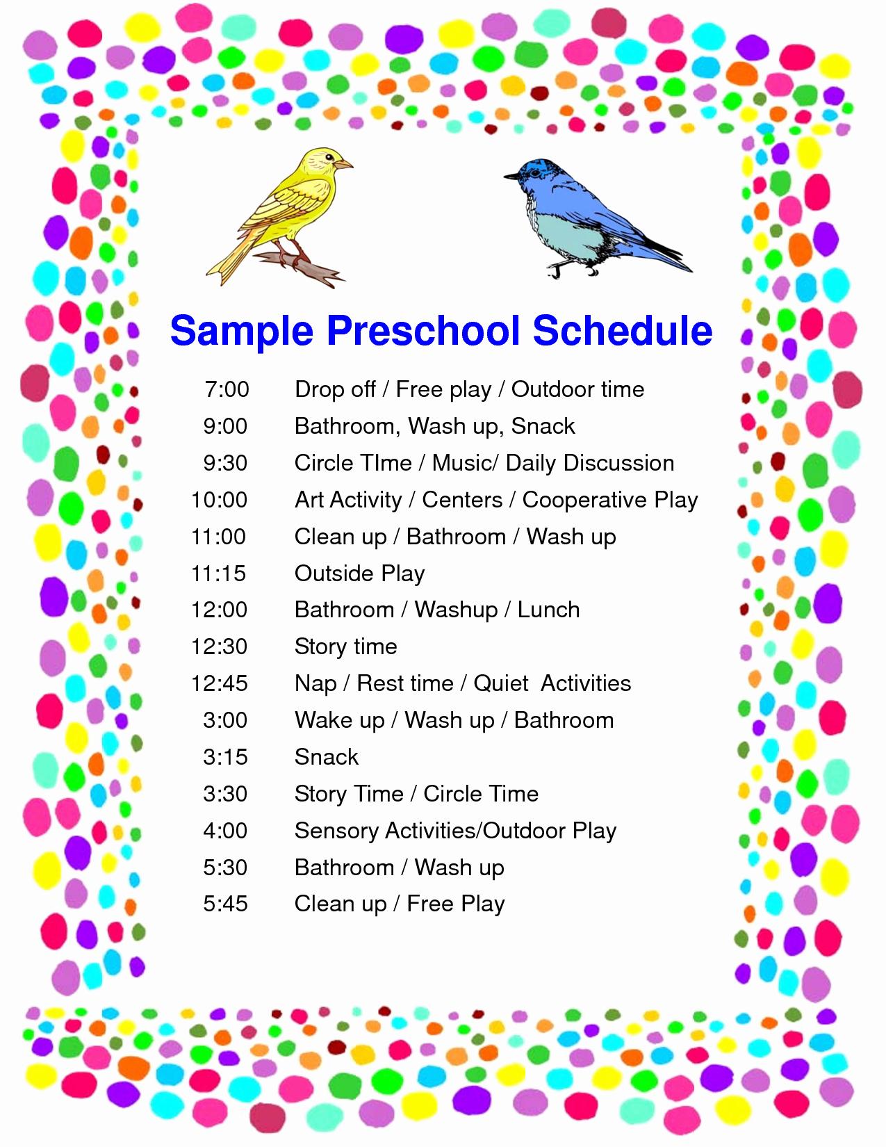 Preschool Daily Schedule Template Fresh 4 Best Of Printable Preschool Daily Schedule