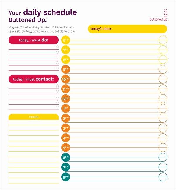 Preschool Daily Schedule Template Inspirational 23 Printable Daily Schedule Templates Pdf Excel Word