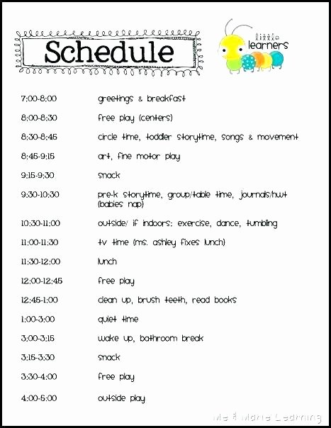 Preschool Daily Schedule Template Luxury Daycare Information Sheet Template Download Best Childcare