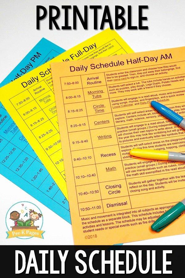Preschool Daily Schedule Template Luxury Preschool Daily Schedule and Visual Schedules