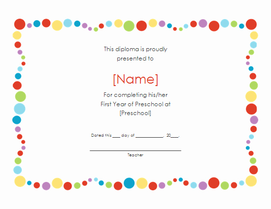Preschool Graduation Certificate Template Awesome 6 Best Of Free Printable Preschool Diplomas