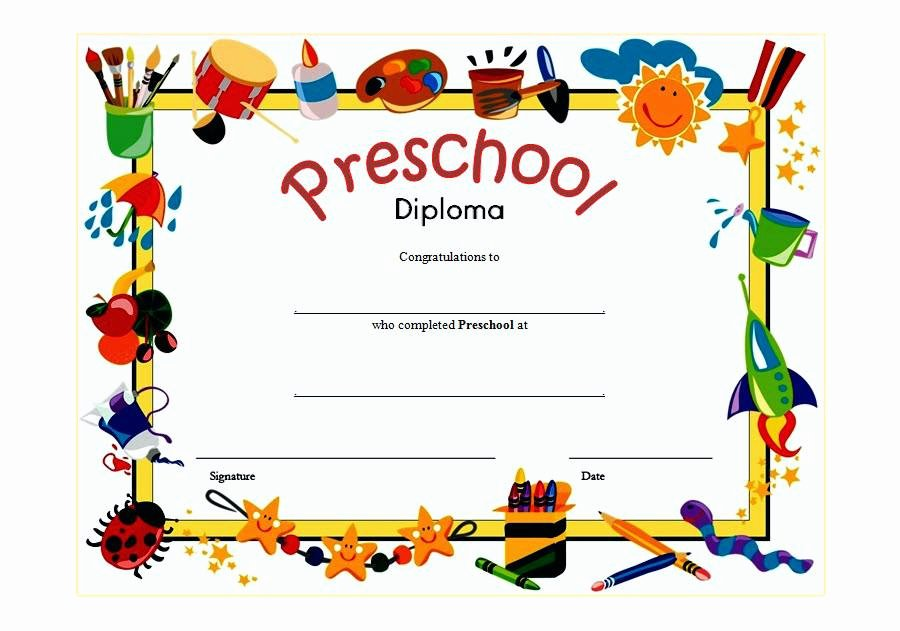 Preschool Graduation Certificate Template Best Of Diploma Certificates Certificate Template Word Templates