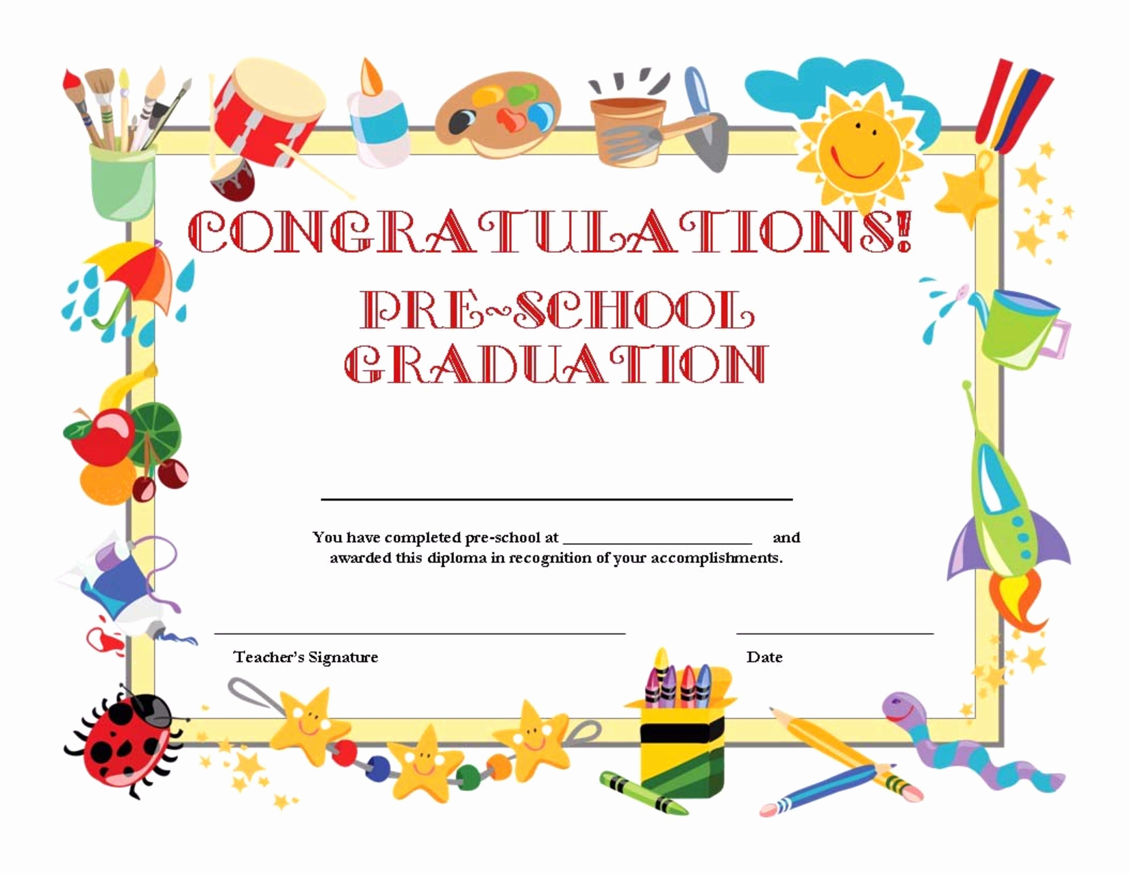 Preschool Graduation Certificate Template Best Of Preschool Graduation Certificate Template Free
