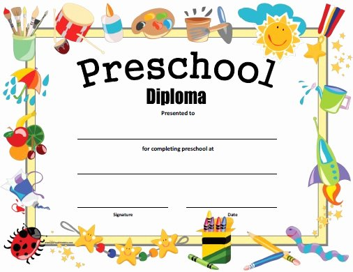 Preschool Graduation Certificate Template Lovely Preschool Diploma Free Printable Allfreeprintable