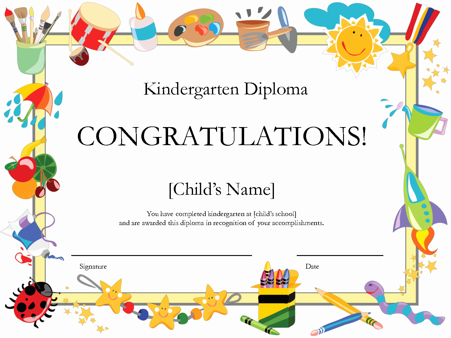 Preschool Graduation Certificate Template Luxury Free Printable Kindergarten Graduation Certificate