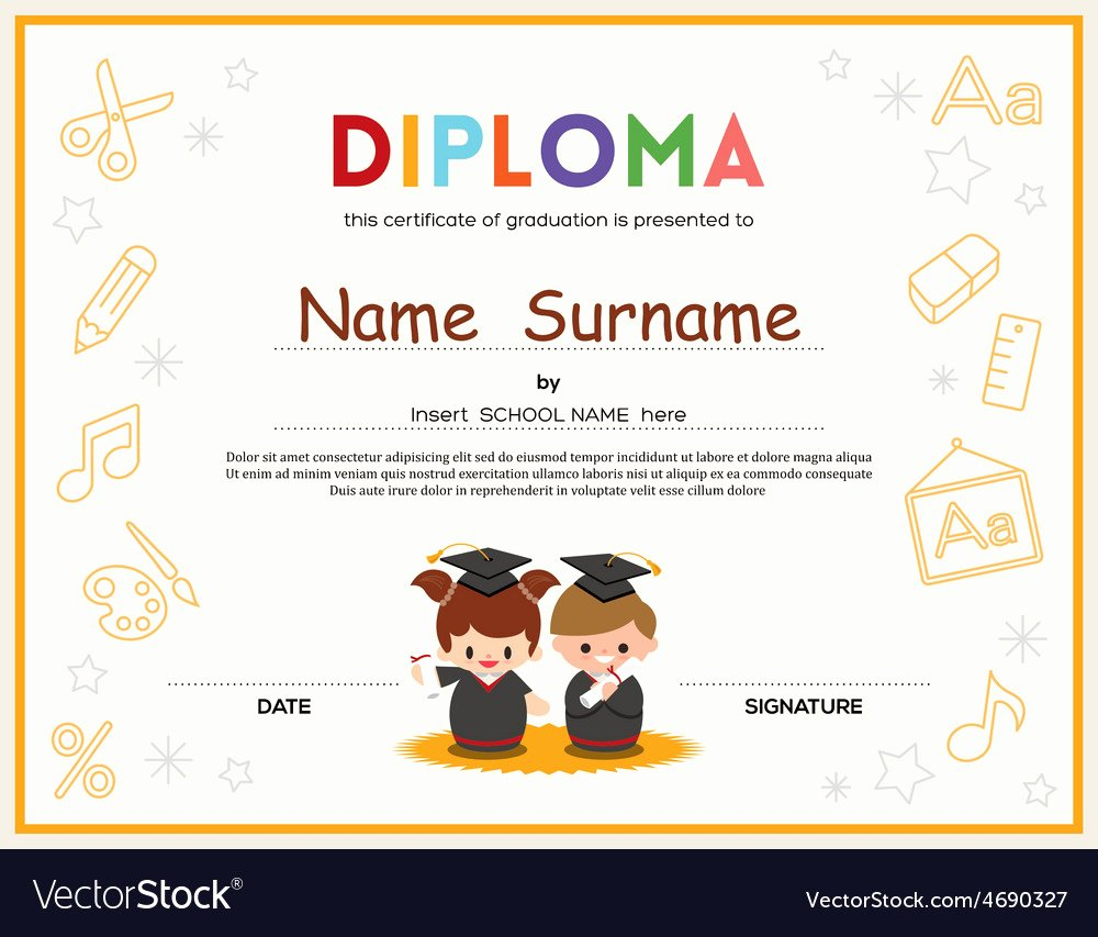 Preschool Graduation Certificate Template Unique Preschool Kids Diploma Certificate Template Vector Image