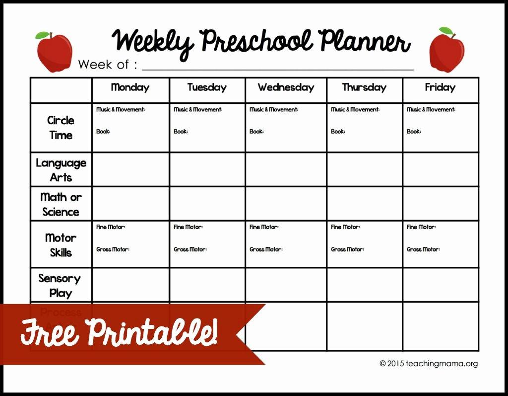 Preschool Lesson Plan Template Fresh Weekly Preschool Planner
