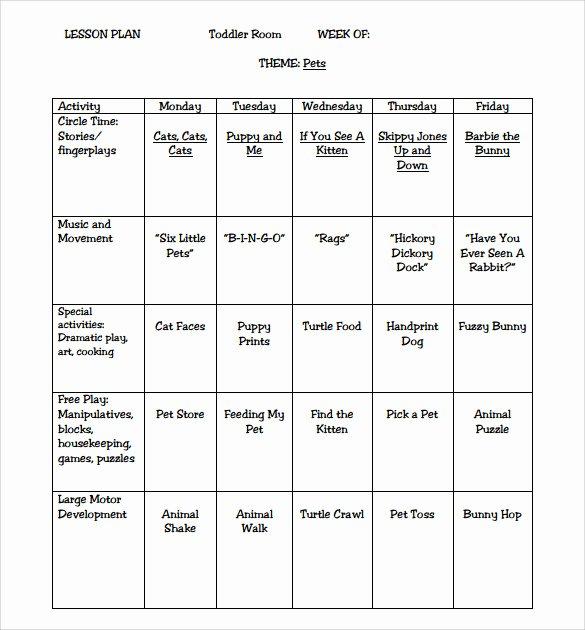 Preschool Lesson Plan Template Inspirational 9 toddler Lesson Plan Samples