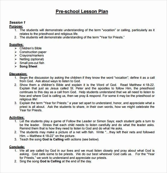 Preschool Lesson Plan Template Lovely 10 Sample Preschool Lesson Plans