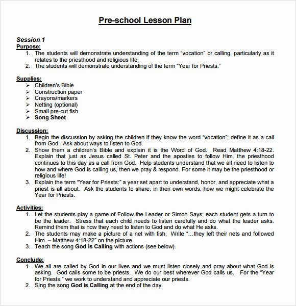 Preschool Lesson Plans Template Awesome 10 Sample Preschool Lesson Plans