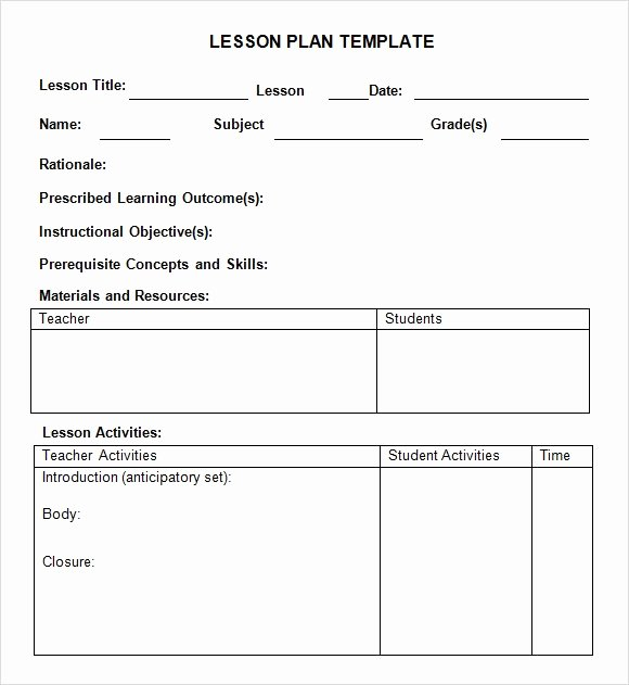 Preschool Lesson Plans Template Best Of 9 Sample Weekly Lesson Plans
