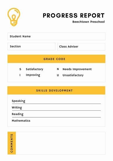 Preschool Progress Report Template Inspirational Customize 81 Preschool Report Card Templates Online Canva