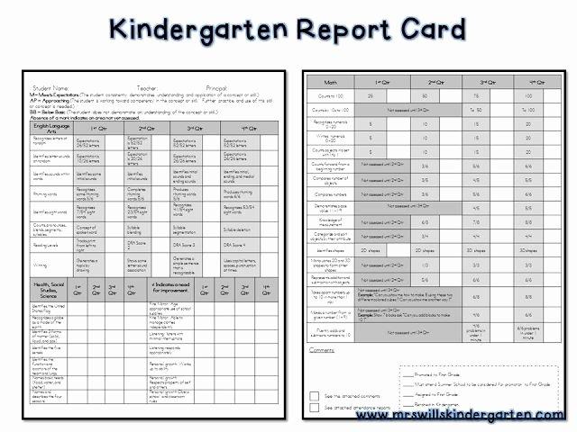 Preschool Progress Report Template Inspirational Free Report Card Template assessment