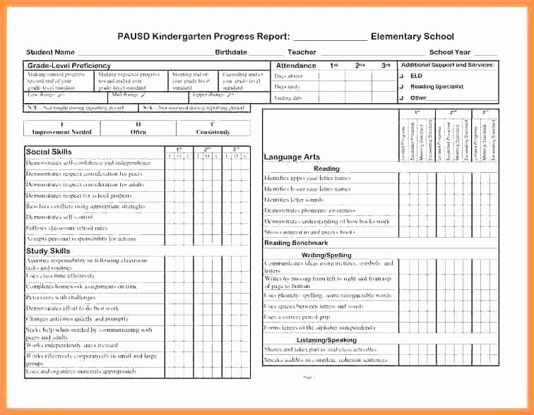 Preschool Progress Report Template New Free Kindergarten Progress Report Template Kindergarten