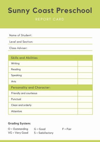 Preschool Report Card Template Elegant Report Templates Canva