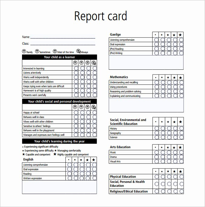 Preschool Report Card Template Lovely Report Card Template 28 Free Word Excel Pdf Documents