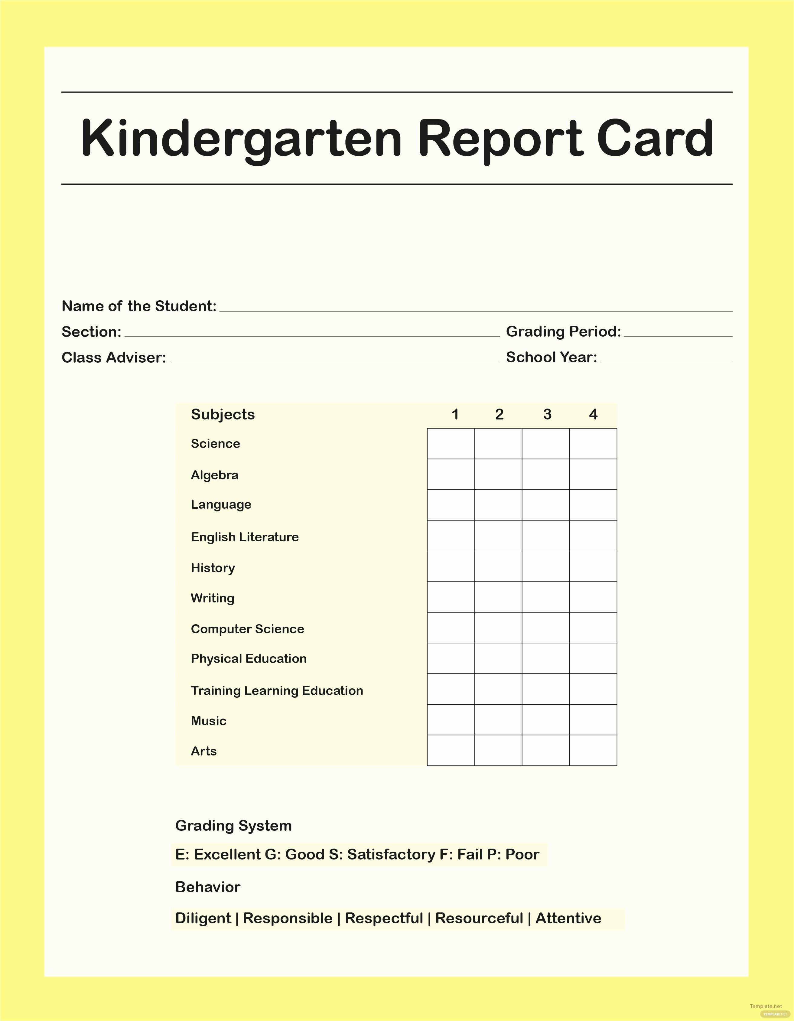 Preschool Report Card Template Unique Free Kindergarten Report Card Template In Adobe Shop