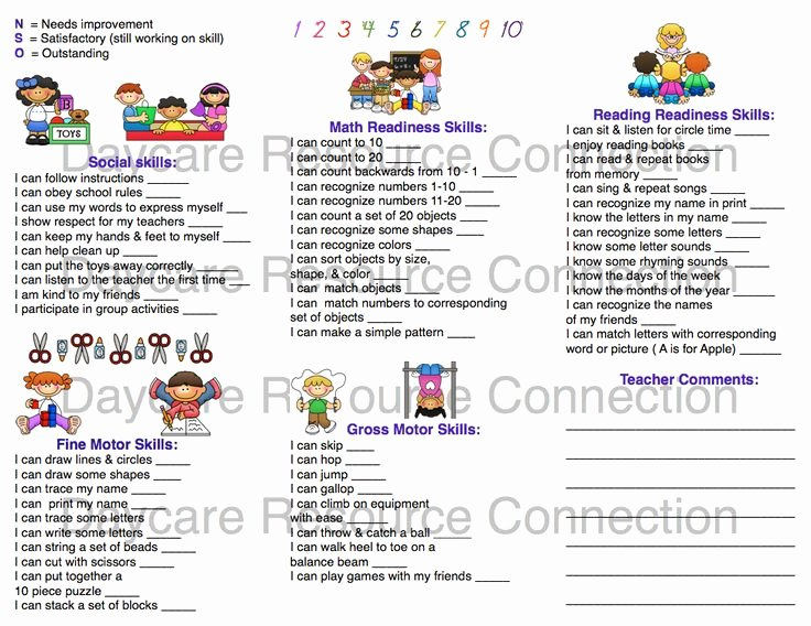 Preschool Report Card Template Unique Image Result for Preschool Progress Report Sample