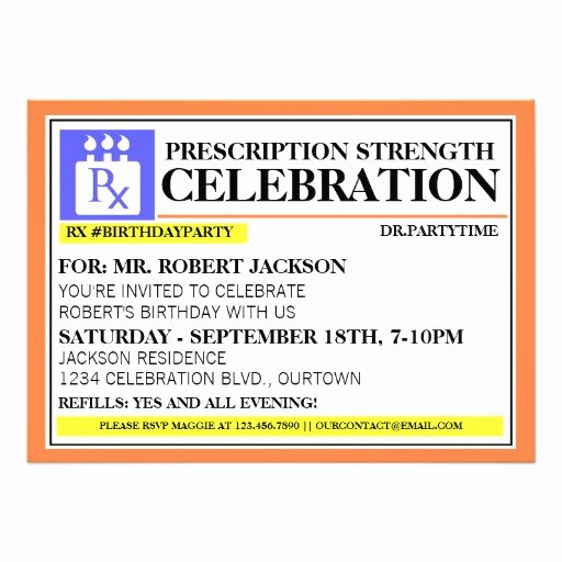 "Prescription Bottle Label Template Awesome Funny Prescription Label Party Invitations 5"" X 7"