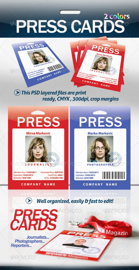 Press Pass Template Free Beautiful Press Cards Pass