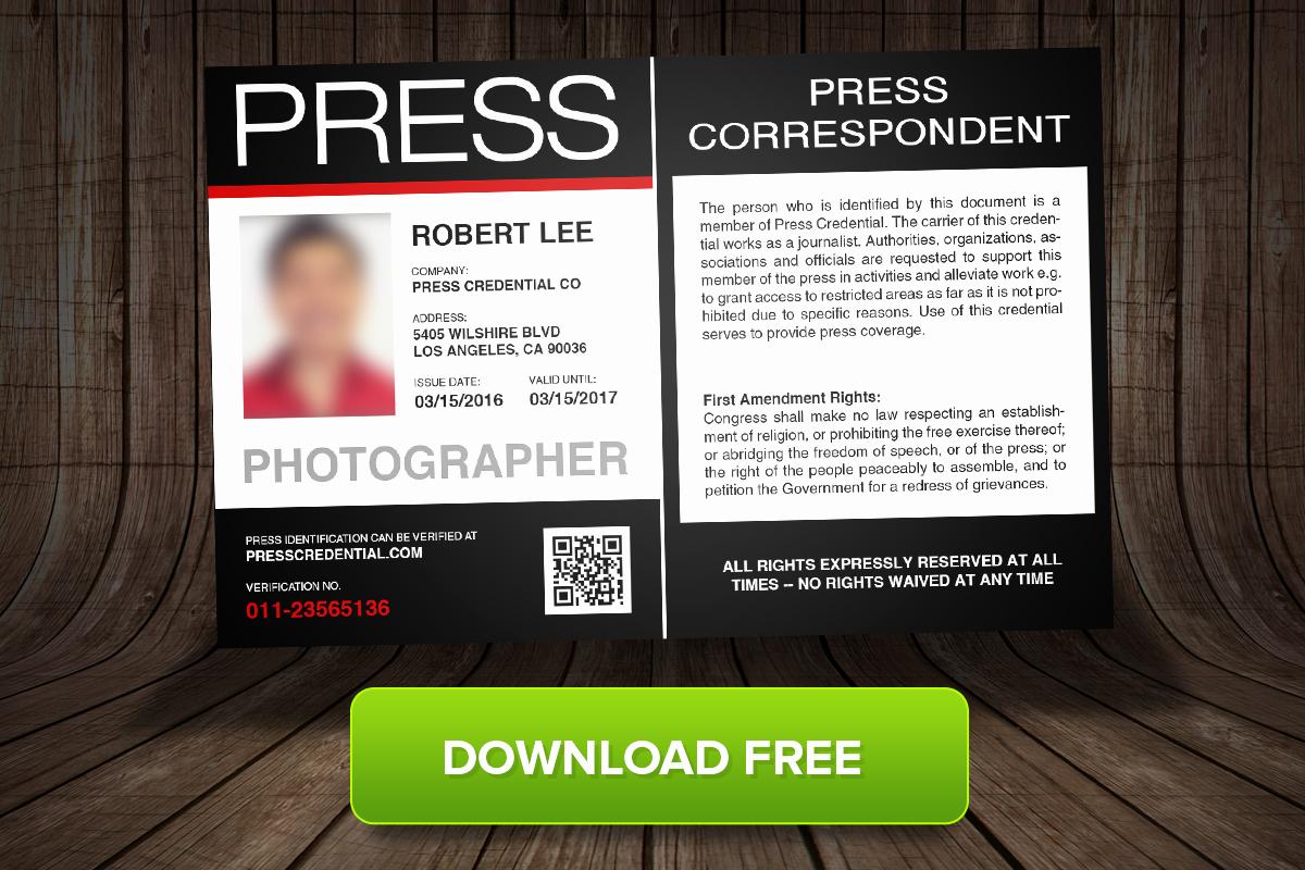 Press Pass Template Free Beautiful Press Credential Fers Free Press Pass Template for