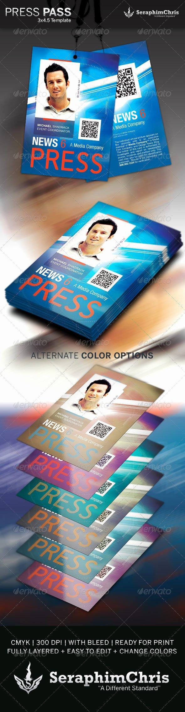Press Pass Template Free Beautiful Press Pass Template 3