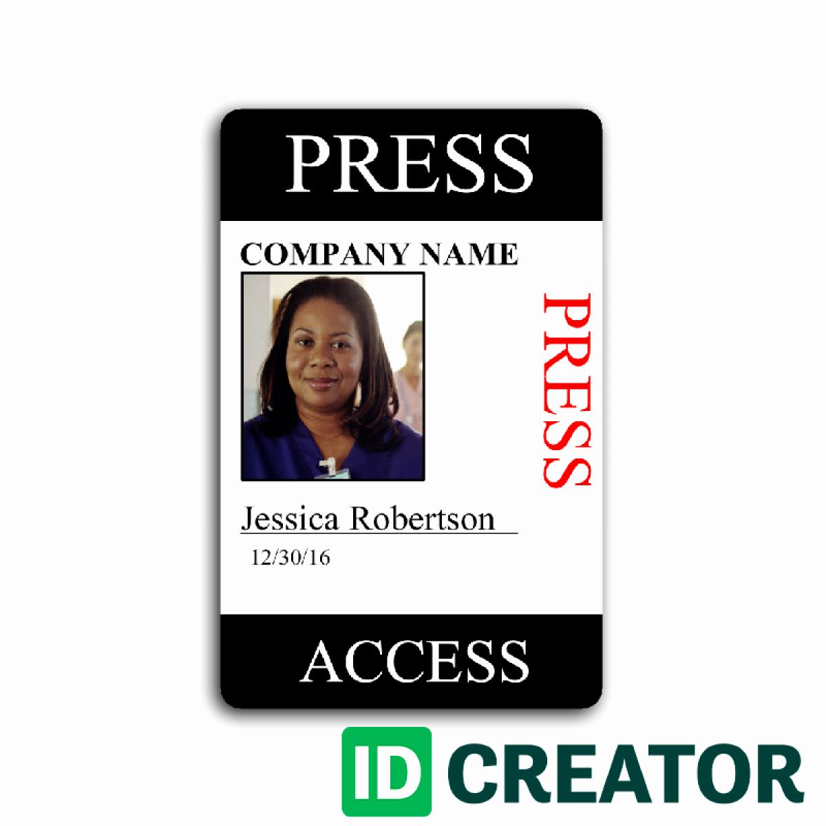 Press Pass Template Free Beautiful Press Pass Template
