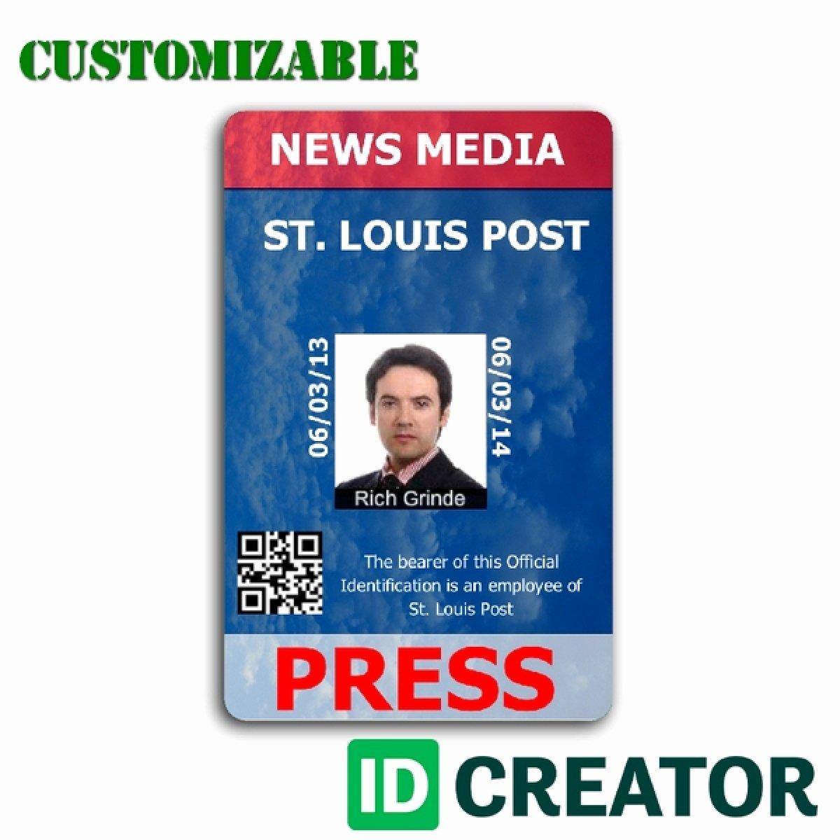 Press Pass Template Free Inspirational Press Pass Template